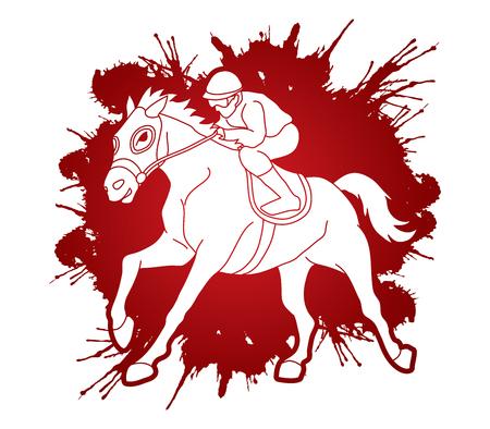 Horse racing ,Horse with jockey designed on splatter ink graphic vector. 일러스트