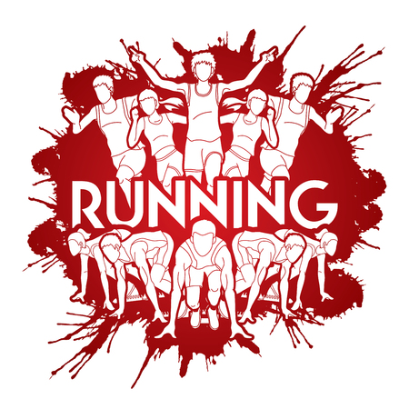 Group of people running with text running Marathon designed on splatter blood runners graphic vector