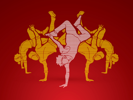 Dancer,  Dancing people, Group of people dancing action designed using geometric pattern graphic vector.