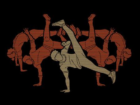 Ballerino, gente che balla, gruppo di persone che ballano azione progettata utilizzando il vettore grafico motivo geometrico.