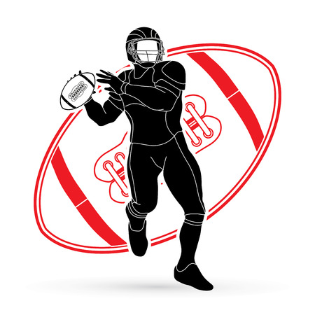 American football player action designed on line ball background graphic vector