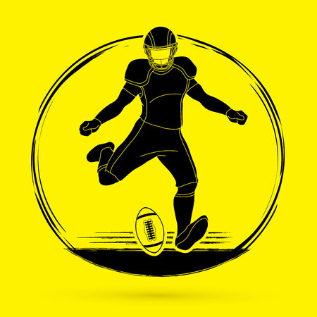 American football player action graphic vector Illustration