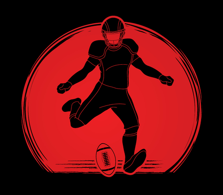 American football player action designed on sunlight background graphic vector