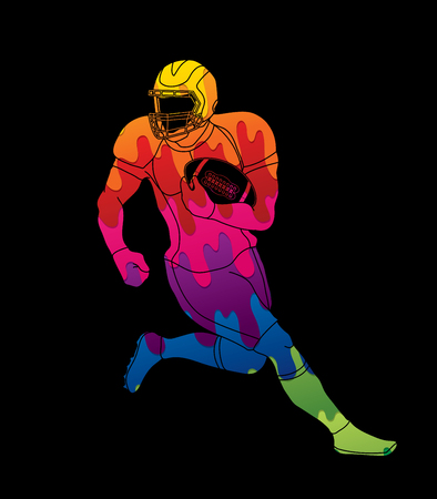 American football player action designed using colorful graphic vector Illustration