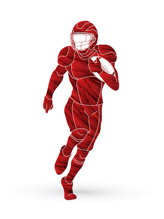 American football player, Sportsman action, sport concept designed using grunge brush  graphic vector.