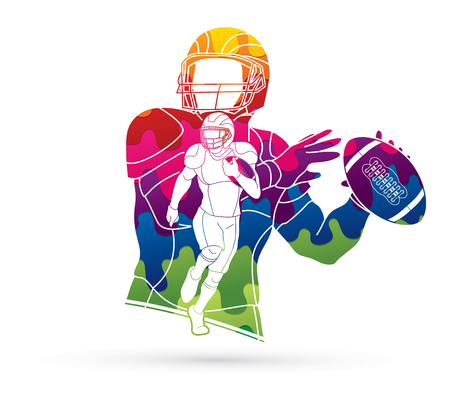 Group of American football player, Sportsman action, sport concept designed using colorful graphic vector. Illustration