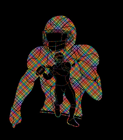 Group of American football player, Sportsman action, sport concept designed using colorful pixels graphic vector.