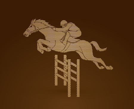Jockey riding horse, hose racing designed using geometric pattern graphic vector.