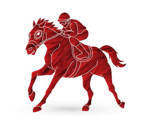 Jockey riding horse, hose racing designed using grunge brush graphic vector. Illustration