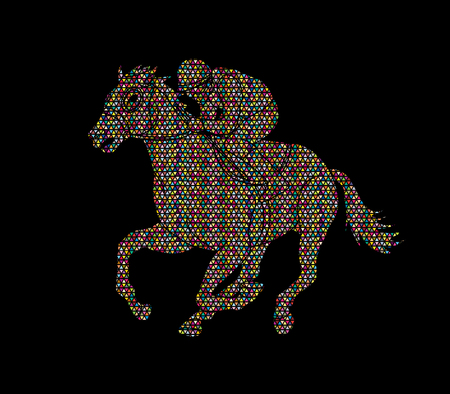 Jockey riding horse, hose racing designed using geometric pattern graphic vector.
