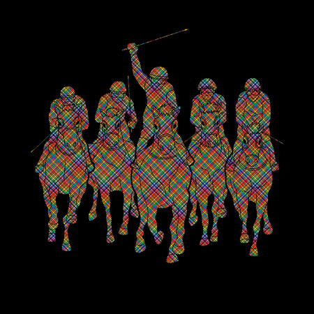 Jockey riding horse, hose racing designed using dots pixels graphic vector. Illustration