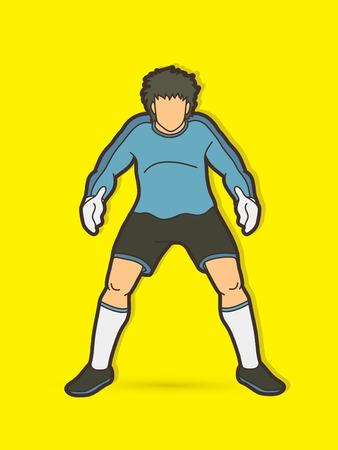 Goalkeeper standing action, Soccer player graphic vector. Stock Illustratie