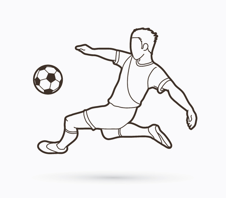 Soccer player somersault kick , overhead kick action outline graphic vector