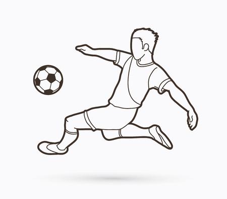 Voetballer salto kick, overhead kick actie overzicht grafische vector