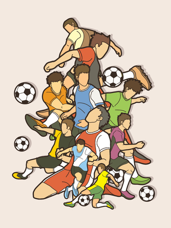 Soccer player team composition  graphic vector.  イラスト・ベクター素材