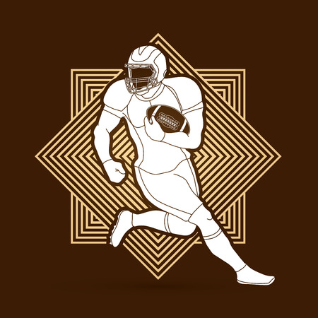 American football player, Sportsman action, sport concept designed on line square background graphic vector. Illustration