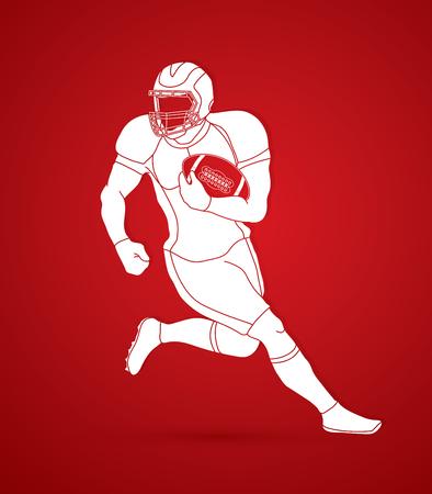 American football player, Sportsman action, sport concept graphic vector. Stock Illustratie