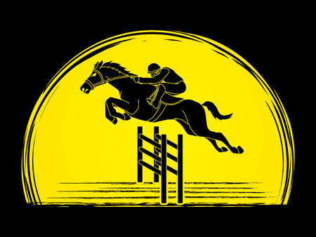 Horse racing ,Jockey riding horse, designed on sunlight background graphic vector.