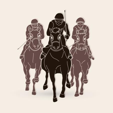 Jockey riding horse, hose racing  graphic vector. Illustration
