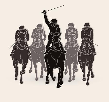 馬に乗って騎手、ホースレースグラフィックベクトル。 ベクターイラストレーション