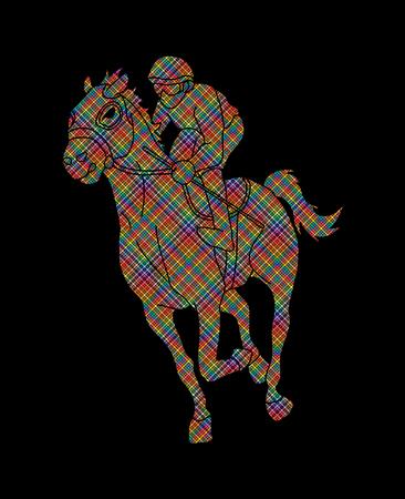 Jockey riding horse, hose racing designed using colorful pixels graphic vector. Çizim