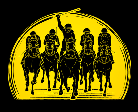 Jockey riding horse, hose racing designed on sunlight background graphic vector. 일러스트
