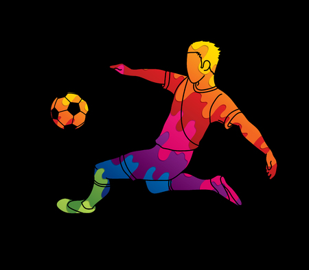 Soccer player kicking a ball action designed using colorful graphic vector.