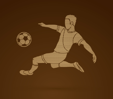 Soccer player kicking a ball action  designed using geometric pattern graphic vector
