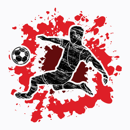 Soccer player kicking a ball action designed on splatter color background graphic vector