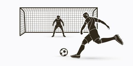 Voetballer schoppen bal met doelman staande actie grafische vector. Vector Illustratie