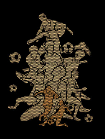 Soccer team composition, soccer player action  designed using geometric pattern graphic vector