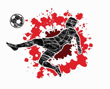 Soccer player somersault kick , overhead kick action designed on splatter color background graphic vector Illustration