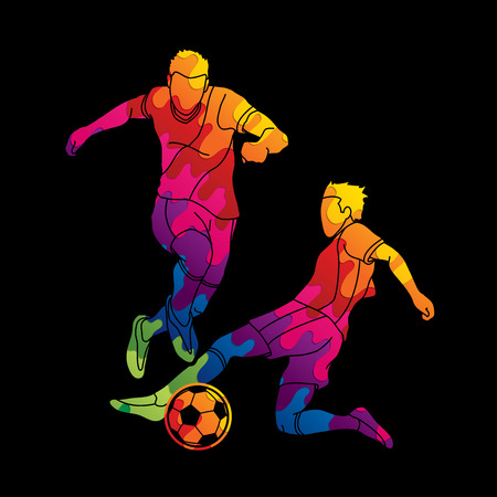 Soccer player action designed using colorful graphic vector Vektorové ilustrace