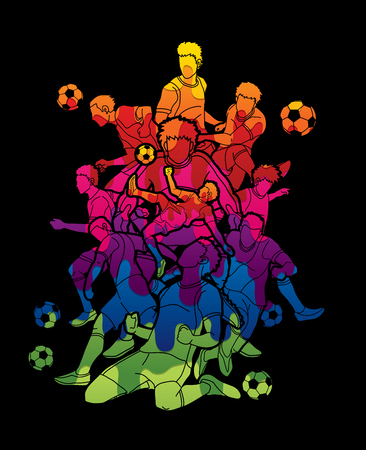 Soccer team composition, soccer player action designed using colorful graphic vector.