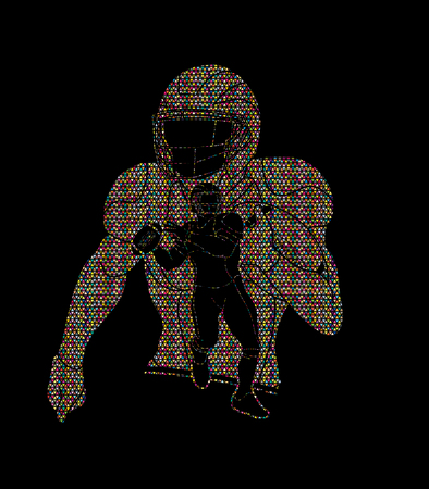 American football player, Sportsman action, sport concept designed using mosaic pattern graphic vector.