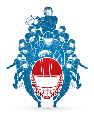 Group of American football player, Sportsman action, sport concept graphic vector.