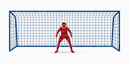 Goalkeeper action,prepare  catches the ball graphic vector.