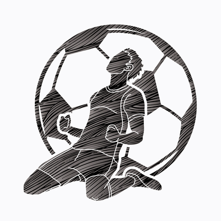 Soccer player the winner action graphic vector