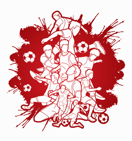 Soccer player team composition illustration graphic vector. Illustration