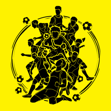 Soccer player team composition illustration graphic vector. Illustration