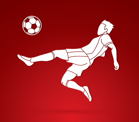 Soccer player hit the ball, Bicycle Kick graphic vector.