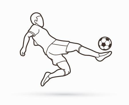 Jugador de fútbol golpea la pelota, vector gráfico de patada de bicicleta.