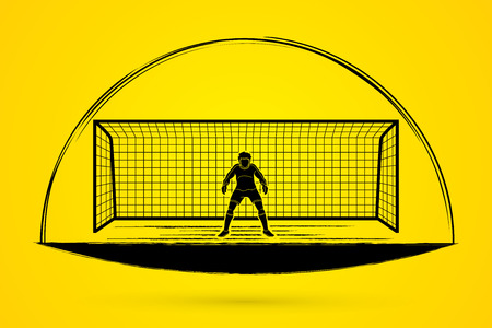 Goalkeeper action, prepare  catches the ball graphic vector.