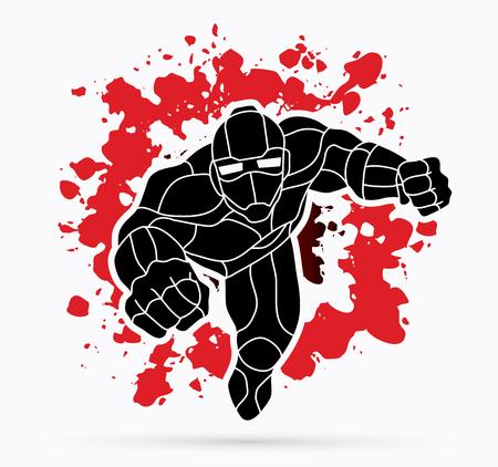 Superhero Robot flying action, Cartoon superhero graphic vector. Vectores