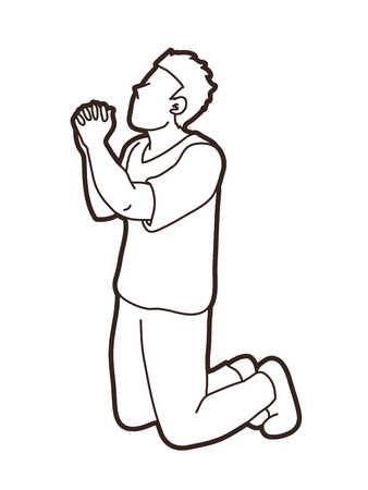 Oración, vector gráfico de oración cristiana Ilustración de vector