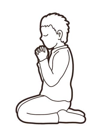 Prière, vecteur graphique de prière chrétienne