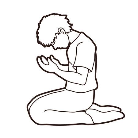 Prayer, Christian praying cartoon graphic vector