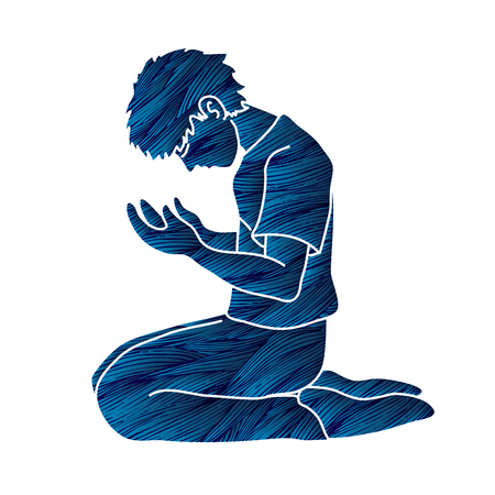 Prière, vecteur graphique de dessin animé chrétien priant