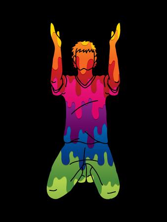 Prière mains en l'air, vecteur graphique de dessin animé chrétien priant