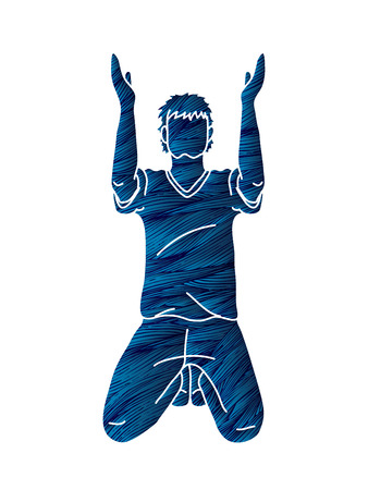 Prayer hands up, Christian praying cartoon graphic vector